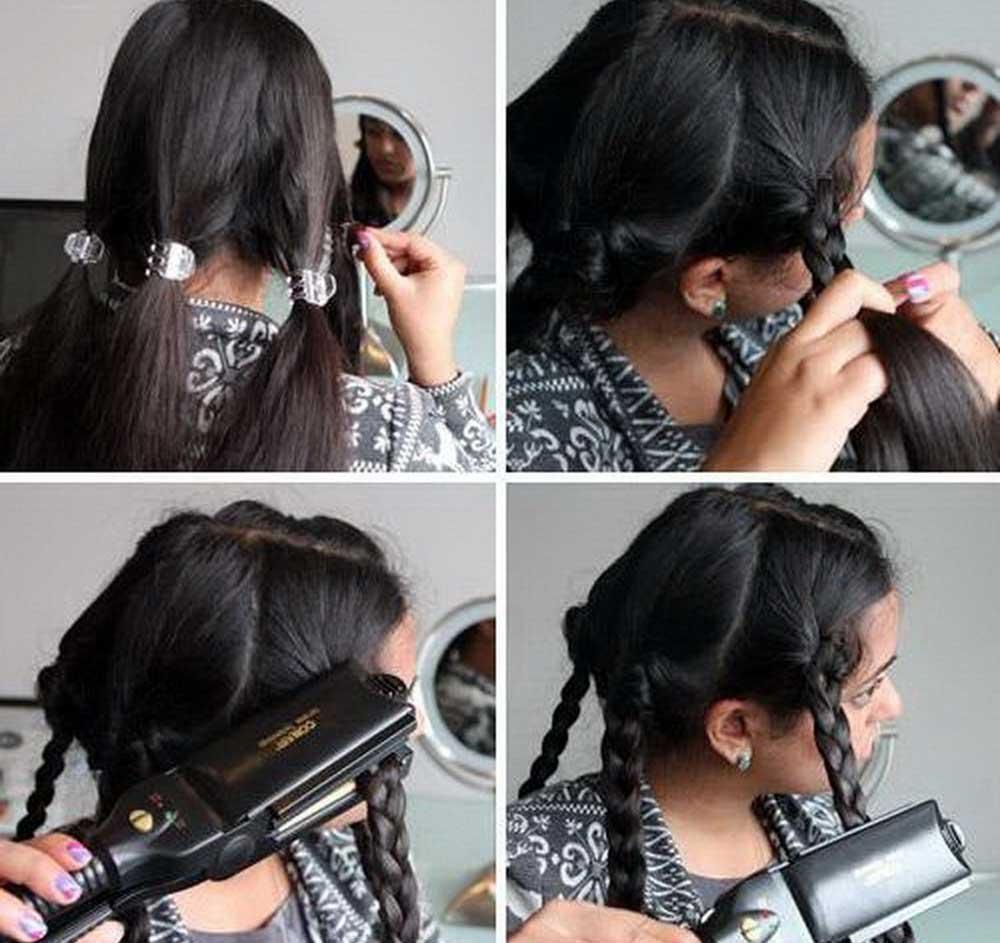 فر کردن موهای بافته با اتوی مو