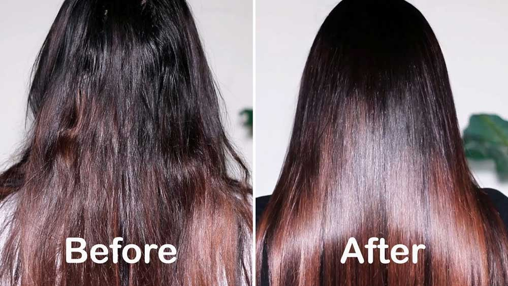 قبل و بعد ازابریشم سازی مو